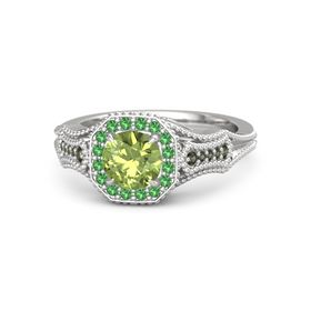 Round Peridot Sterling Silver Ring with Emerald & Green Tourmaline