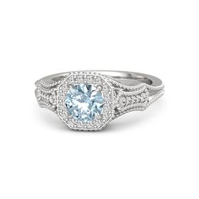 Round Aquamarine Sterling Silver Ring with White Sapphire
