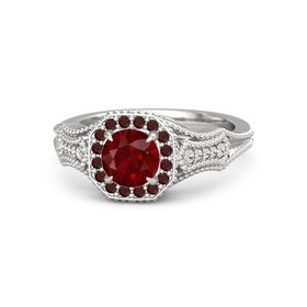 Round Ruby Sterling Silver Ring with Red Garnet & White Sapphire