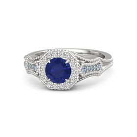 Round Blue Sapphire Sterling Silver Ring with White Sapphire and Blue Topaz
