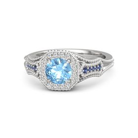 Round Blue Topaz Sterling Silver Ring with White Sapphire & Sapphire
