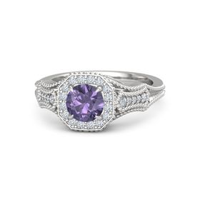 Round Iolite Sterling Silver Ring with Diamond