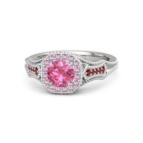 Round Pink Tourmaline Sterling Silver Ring with Pink Sapphire & Ruby