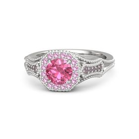 Round Pink Tourmaline Sterling Silver Ring with Pink Tourmaline & Rhodolite Garnet