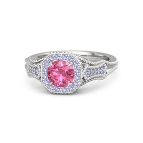Round Pink Tourmaline Sterling Silver Ring with Tanzanite