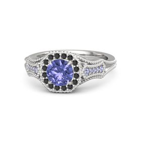 Round Tanzanite Sterling Silver Ring with Black Diamond and Tanzanite