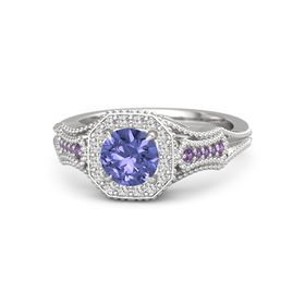 Round Tanzanite Sterling Silver Ring with White Sapphire and Amethyst
