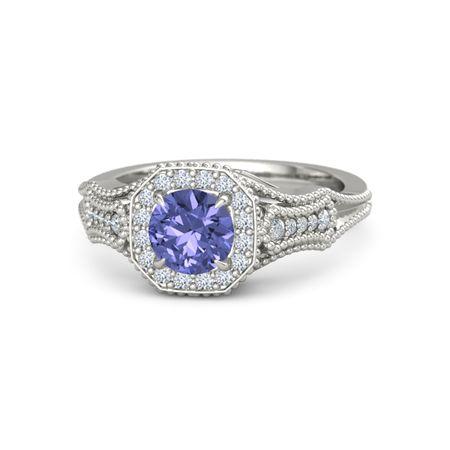 Round Tanzanite Platinum Ring with Diamond | Melissa Ring ...