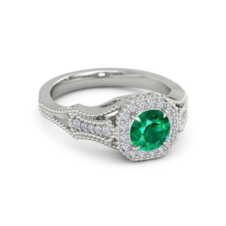 Melissa Ring - Round Emerald 14K White Gold Ring with Diamond