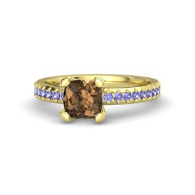 Cushion Smoky Quartz 14K Yellow Gold Ring with Tanzanite
