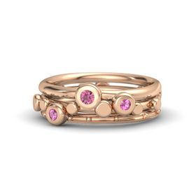 14K Rose Gold Ring with Pink Sapphire and Pink Tourmaline