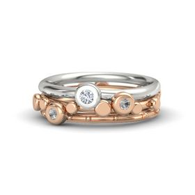 14K Rose Gold Ring with Rock Crystal & Diamond