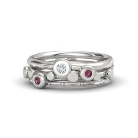 14K White Gold Ring with Rhodolite Garnet & Diamond