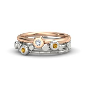 14K White Gold Ring with Citrine and Diamond