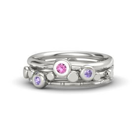 14K White Gold Ring with Iolite & Pink Sapphire