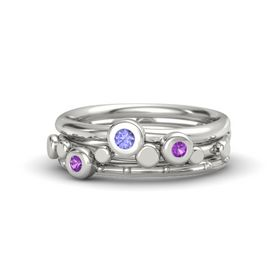 14K White Gold Ring with Amethyst and Tanzanite