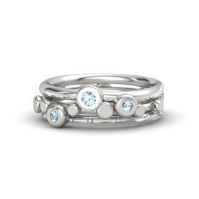 14K White Gold Ring with Aquamarine