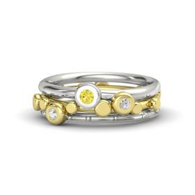 14K Yellow Gold Ring with White Sapphire & Yellow Sapphire