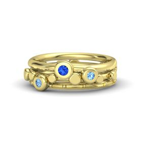 14K Yellow Gold Ring with Blue Topaz & Sapphire