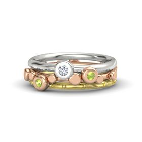 18K Rose Gold Ring with Peridot and Diamond