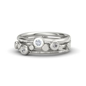 Palladium Ring with Rock Crystal and Diamond