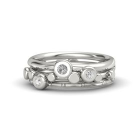 Palladium Ring with White Sapphire and Rock Crystal