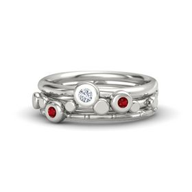 Platinum Ring with Ruby & Diamond
