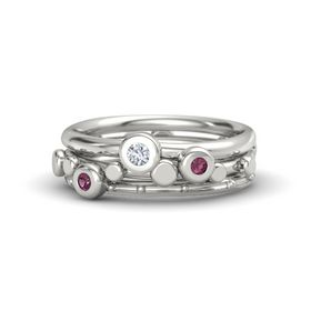 Platinum Ring with Rhodolite Garnet & Diamond