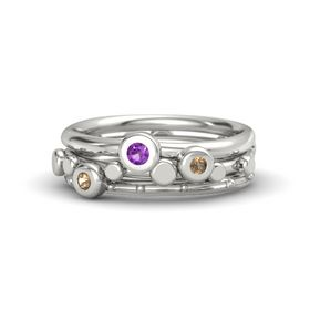 Platinum Ring with Smoky Quartz and Amethyst