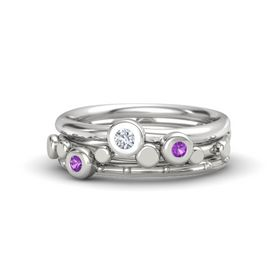 Platinum Ring with Amethyst and Diamond