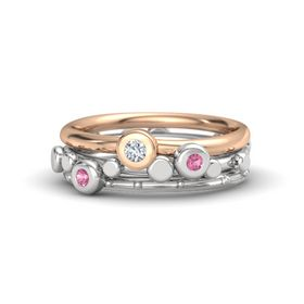Sterling Silver Ring with Pink Tourmaline and Diamond