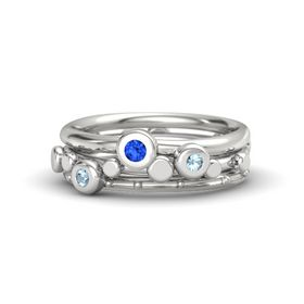 Sterling Silver Ring with Aquamarine and Blue Sapphire