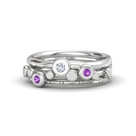 Sterling Silver Ring with Amethyst and Diamond