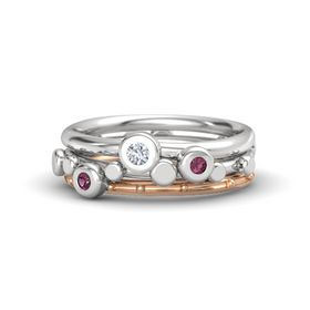 Sterling Silver Ring with Rhodolite Garnet and Diamond