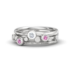 Sterling Silver Ring with Pink Sapphire & Diamond