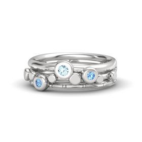 Sterling Silver Ring with Blue Topaz & Aquamarine