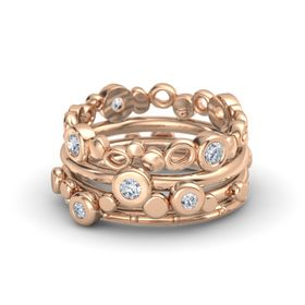 Round Diamond 14K Rose Gold Ring with Diamond