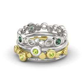 Round Peridot 14K Yellow Gold Ring with Peridot and Alexandrite