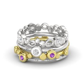 Round White Sapphire 14K Yellow Gold Ring with Amethyst & White Sapphire