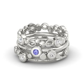 Round Tanzanite Palladium Ring with White Sapphire