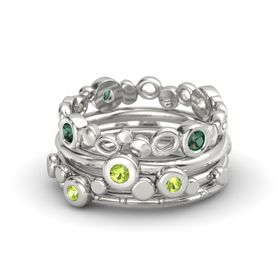 Round Peridot Platinum Ring with Peridot and Alexandrite