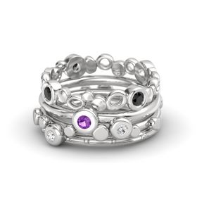 Round Amethyst Sterling Silver Ring with White Sapphire & Black Diamond
