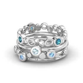 Round Aquamarine Sterling Silver Ring with Blue Topaz & London Blue Topaz