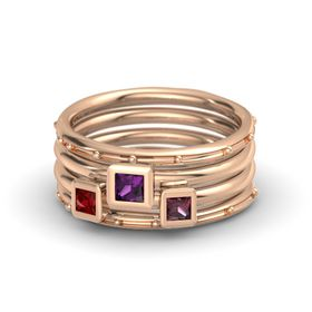 Princess Rhodolite Garnet 14K Rose Gold Ring with Rhodolite Garnet and Ruby
