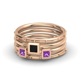 Princess Black Onyx 14K Rose Gold Ring with Amethyst