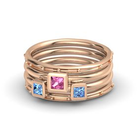 Princess Pink Tourmaline 14K Rose Gold Ring with Blue Topaz