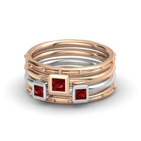 Princess Ruby 14K Rose Gold Ring with Ruby