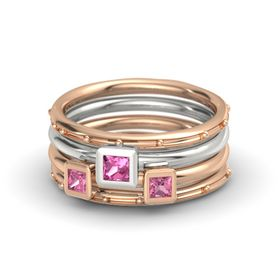 Princess Pink Tourmaline 14K Rose Gold Ring with Pink Tourmaline
