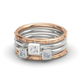 Princess White Sapphire 14K Rose Gold Ring with Diamond