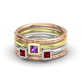 Princess Amethyst 14K Rose Gold Ring with Ruby